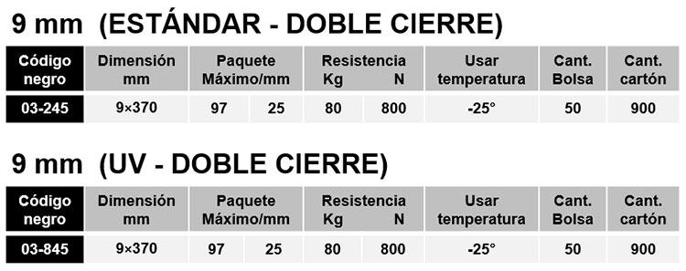 bridas autobloqueantes poliamida pa 6.6 doble cierre
