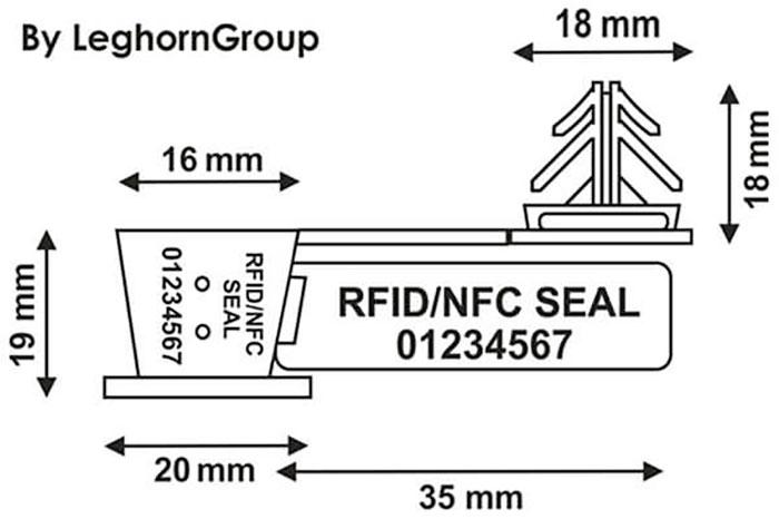 precinto para alambre rfid anchorflag diseno tecnico