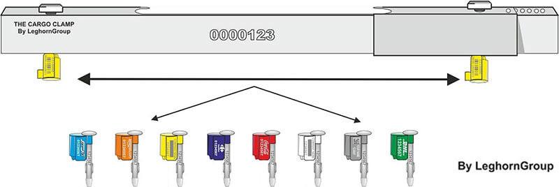 precinto barra contenedores cargoclamp colores personalizaciones