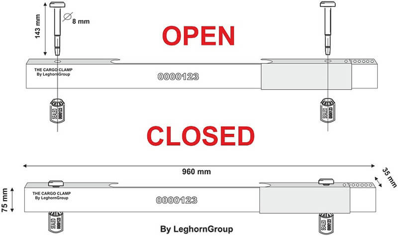 precinto barra para contenedores cargoclamp diseno tecnico