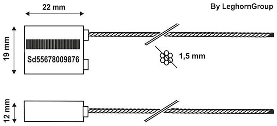 precinto cable para camion borea seal lw 1.5 mm diseno tecnico