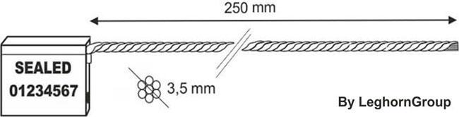 precintos con cable 3.5x200 mm diseno tecnico