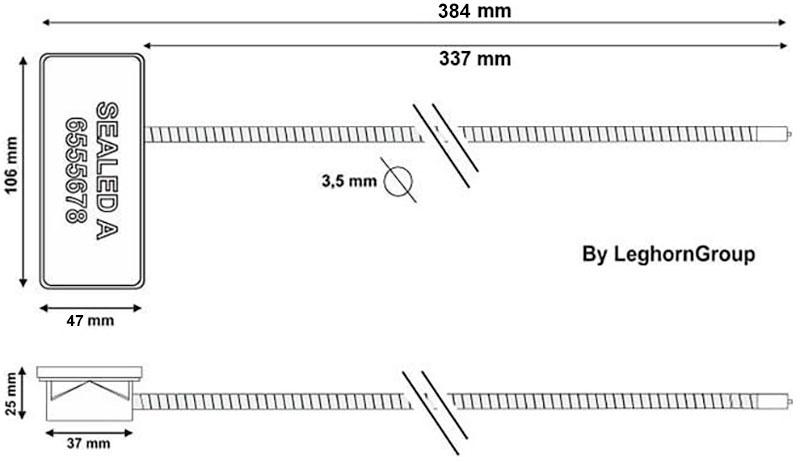 precinto con cable rfid anti tamper diseno tecnico