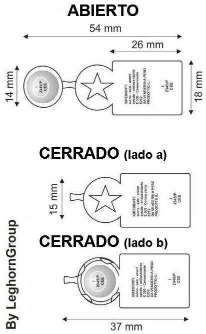 precinto metalico flagcrimp 15×54 mm diseno tecnico