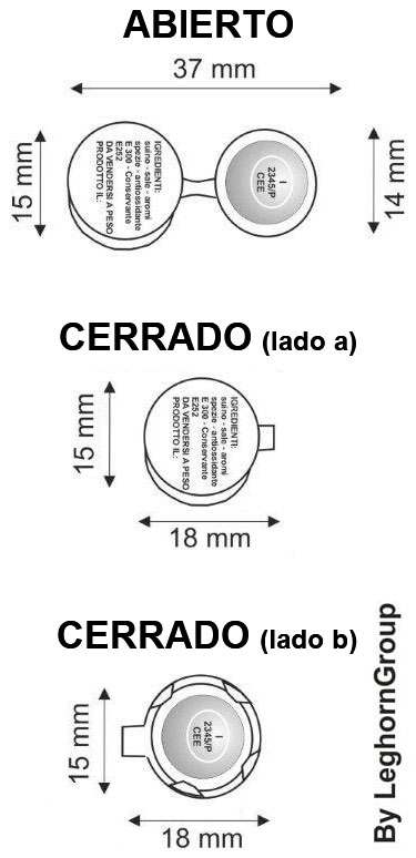 precinto metalico roundcrimp 15×37 mm diseno tecnico