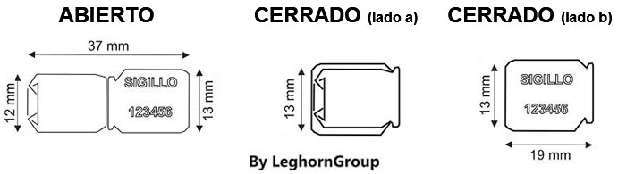 precinto metalico tipo clip crimp seal diseno tecnico