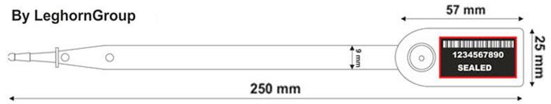 precinto plastico aello seal 9x250 mm diseno tecnico
