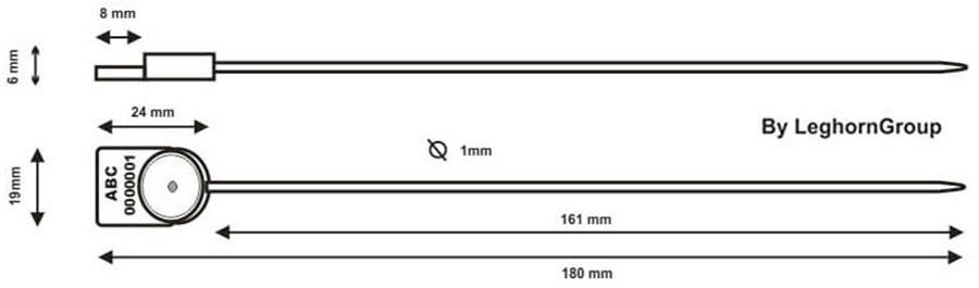 precinto plastico alcyone seal 1×161 mm diseno tecnico