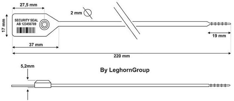 precinto plastico alcyone seal icarus 2x220 diseno tecnico