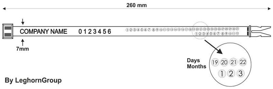 precinto plastico horn seal 260 mm diseno tecnico