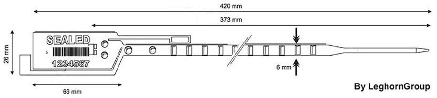 precinto plastico long seal 6×420 mm diseno tecnico