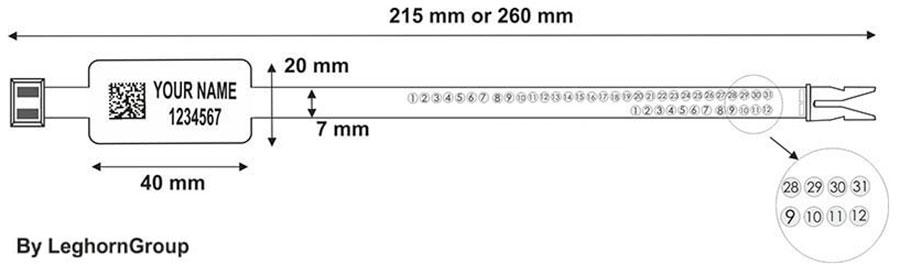 precinto plastico ringlabel seal 7x215 mm 260 mm diseno tecnico