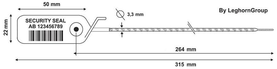 precinto plastico scite seal 3.3×315 mm diseno tecnico