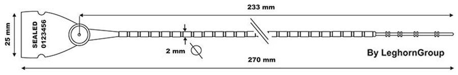 precinto plastico scite seal lgh 103-2×270 mm diseno tecnico