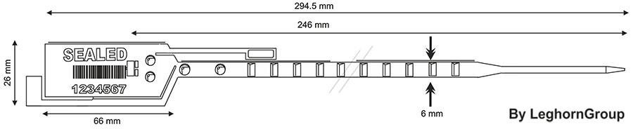 precinto plastico simple seal 6×294 mm diseno tecnico