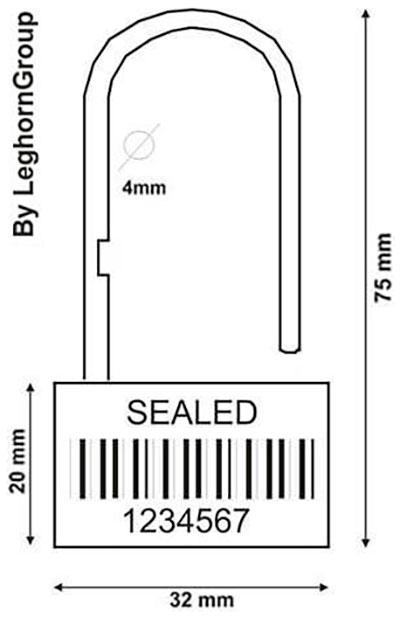 precinto plastico tipo candado padlock seal 160-4 diseno tecnico