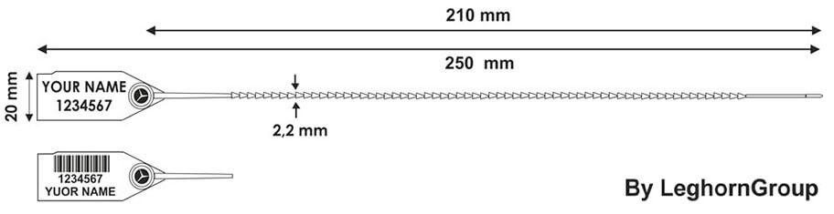 precinto plastico twiggy seal 2.2x250 mm diseno tecnico