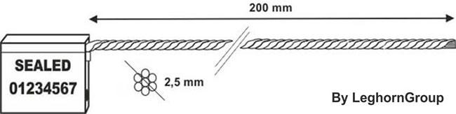 precintos con cable 2.5×200 mm diseno tecnico