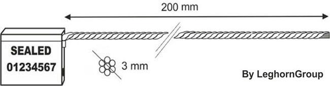 precintos con cable 3×200 mm diseno tecnico