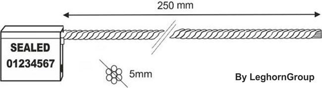 precintos con cable 5×250 mm diseno tecnico